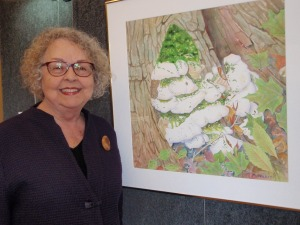 Poet with her watercolor, Mossy Maple Polypore